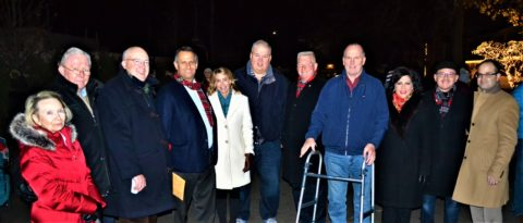 Braving the cold are from left, Trustee Theresa Trouve, Chamber of Commerce Director John Wilton, Trustee John Delaney, County Legislator Laura Schaefer, Trustee Bob Bolebruch, Trustee Mark Hyer, WPOA President Gerry Kelly, Vice President RoseAnn Vernice and Director Nick Vernice, and State Assemblyman Ed Ra.